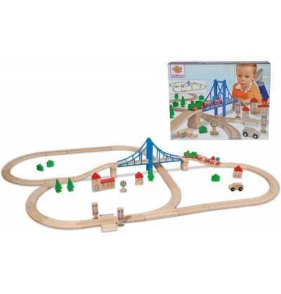 Circuito de Tren Madera con Puente