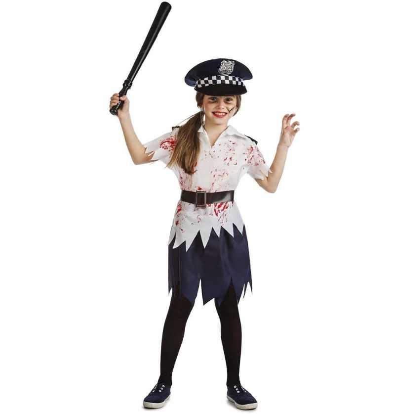 Comprar Disfraz Policia Zombie Niña Halloween