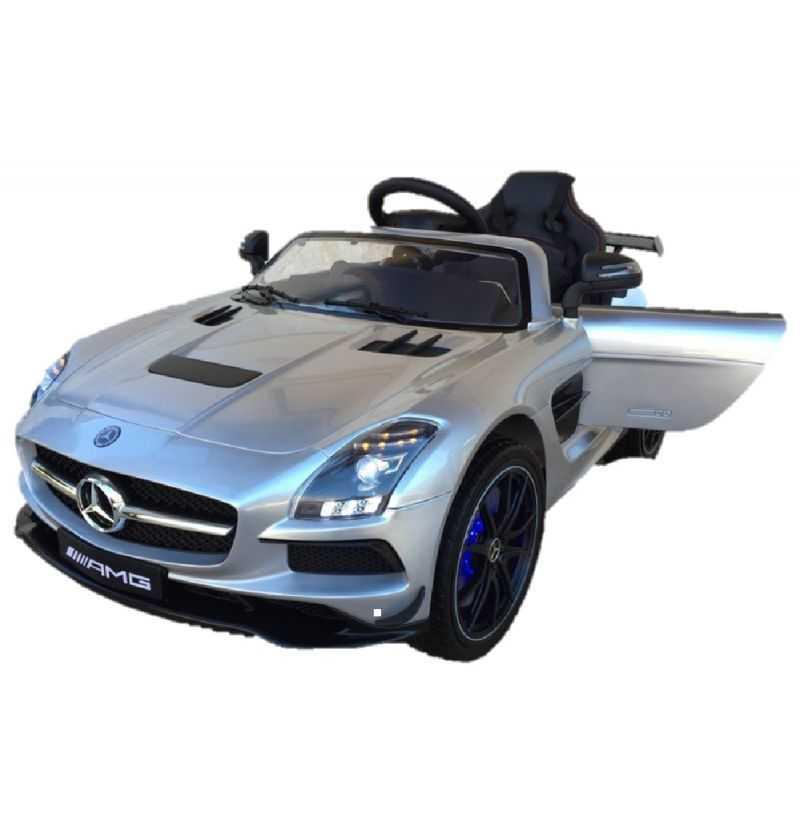 Comprar Coche Eléctrico Infantil Mercedes SLS 12v con mp4 color plata metalizado