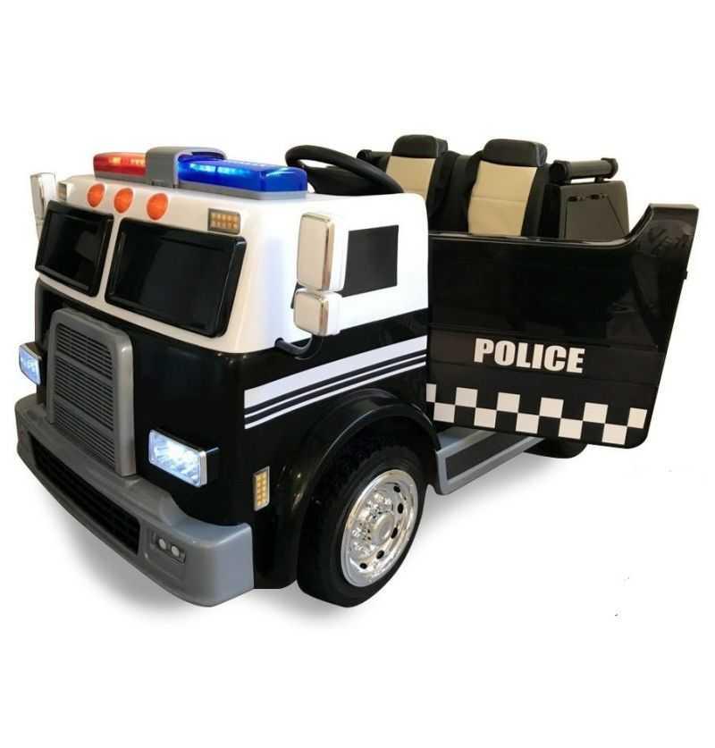 Camión Eléctrico Infantil de Policía Negro 12v 2.4g 2 Plazas