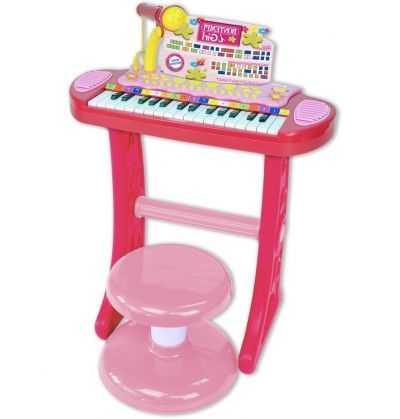 Comprar Piano Electronico Infantil Rosa Taburete