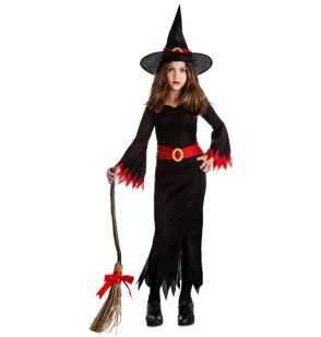 Comprar Disfraz de Bruja Negra Halloween Infantil negro-rojo