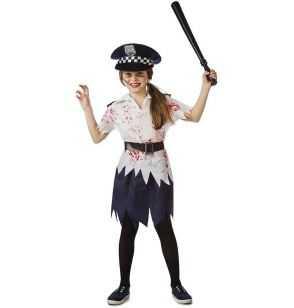 Comprar Disfraz Policía Zombi Niña Halloween